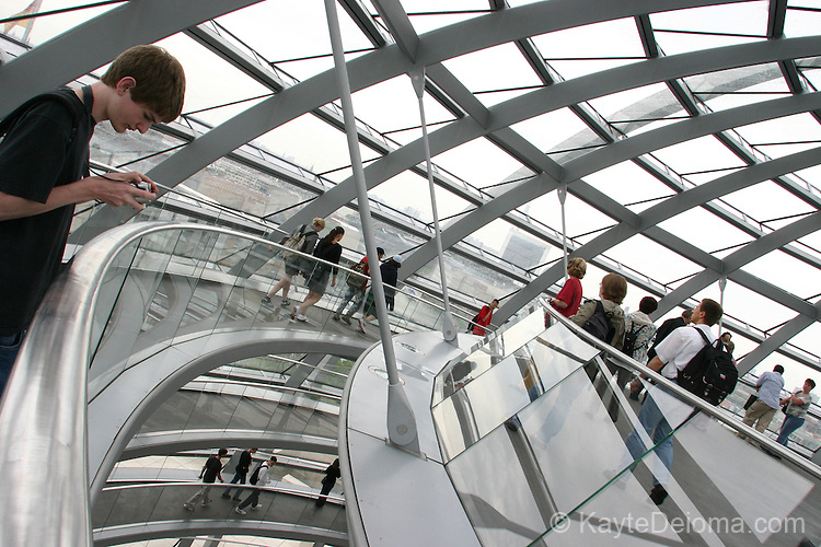 The Reichstag glass dome, designed by Brittish architect Sir Norman Foster, was added to the parliament building in 1999.  Berlin, Germany