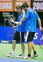 17-12-13,Netherlands, Rotterdam,  Topsportcentrum, Tennis Masters, ,  Sander Arends and David de Goede  (L)  <br /> Photo: Henk Koster