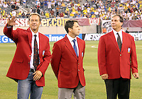 Thomas Dooley, Preki and Bruce Arena of the USA 2010 inductees into the hall of fame during an international friendly match against Brazil in Giants Stadium, on August 10 2010, in East Rutherford, New Jersey.Brazil won 2-0.