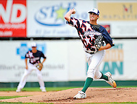 3 July 2011: Vermont Lake Monsters pitcher Seth Frankoff on the mound against the Tri-City ValleyCats at Centennial Field in Burlington, Vermont. The Lake Monsters rallied from a 6-3 deficit, scoring 4 runs in the bottom of the 9th, to defeat the ValletCats 7-6 in NY Penn League action. Mandatory Credit: Ed Wolfstein Photo