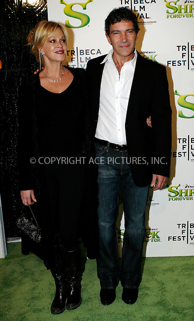 WWW.ACEPIXS.COM . . . . .  ....April 21 2010, New York City....Actors Melanie Griffith and Antonio Banderas arriving at the premiere of 'Shrek Forever After' as part of the Tribeca Film Festival at the Ziegfeld Theatre on April 21 2010 in New York City....Please byline: NANCY RIVERA- ACEPIXS.COM.... *** ***..Ace Pictures, Inc:  ..Tel: 646 769 0430..e-mail: info@acepixs.com..web: http://www.acepixs.com