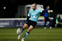 Shane O'Leary of Nottingham Rugby kicks clear during the Greene King IPA Championship match between London Scottish Football Club and Nottingham Rugby at Richmond Athletic Ground, Richmond, United Kingdom on 7 February 2020. Photo by Carlton Myrie.