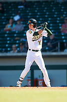 Mesa Solar Sox center fielder Skye Bolt (10), of the Oakland Athletics organization, at bat during an Arizona Fall League game against the Salt River Rafters at Sloan Park on November 9, 2018 in Mesa, Arizona. Mesa defeated Salt River 5-4. (Zachary Lucy/Four Seam Images)