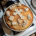 Making a slava kolach loaf with Ashley and Mike Rice for the feast of St. Sebastian of Jackson, California.
