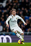 Luka Modric of Real Madrid runs with the ball during the La Liga 2018-19 match between Real Madrid and Rayo Vallencano at Estadio Santiago Bernabeu on December 15 2018 in Madrid, Spain. Photo by Diego Souto / Power Sport Images