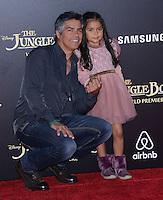 Esai Morales + daughter Mariana @ the premiere of 'The Jungle Book' held @ El Capitan theatre.<br /> April 4, 2016