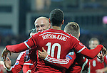 UEFA European Championship at Cardiff City Stadium - Wales v Cyprus : <br /> Hal Robson-Kanu celebrates his first half goal with fellow Welsh goalscorer David Cotterill.