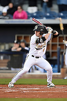 Vanderbilt Commodores outfielder Rhett Wiseman (8) at bat during a game against the Indiana State Sycamores on February 20, 2015 at Charlotte Sports Park in Port Charlotte, Florida.  Vanderbilt defeated Indiana State 3-2.  (Mike Janes/Four Seam Images)