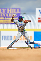 Hartford Yard Goats shortstop Luis Jean (17) throws to first base attempting to turn a double play in the bottom of the seventh inning during a game against the Binghamton Rumble Ponies on July 9, 2017 at NYSEG Stadium in Binghamton, New York.  Hartford defeated Binghamton 7-3.  (Mike Janes/Four Seam Images)