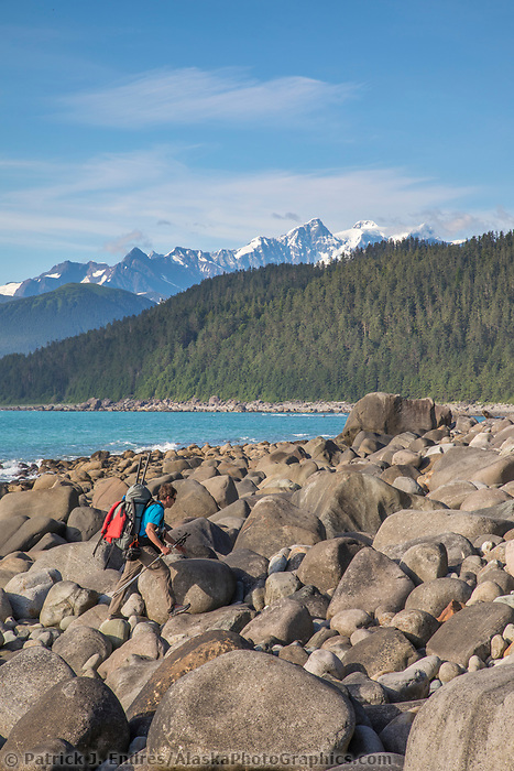 Boulder beach of Cape Fairweather, Gulf of Alaska, Pacific ocean coast, Glacier Bay National Park, Southeast, Alaska