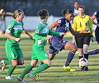20131211 - HENIN-BEAUMONT , France :  PSG's Marie-Laure Delie (right) pictured foot on the ball in front of Henin's  Marie Schepers (left) during the female soccer match between FC Henin Beaumont and Paris Saint-Germain Feminin , of the Ninth matchday in the French First Female Division . Wednesday 11 December 2013. PHOTO DAVID CATRY