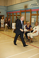 September 4, 2012 - Sherbrooke (Qc) CANADA - Quebec Premier and Liberal leader Jean Charest vote in his riding.<br /> <br /> later that day he lost the Provincial election to Parti Quebecois (PQ) Leader Pauline Marois<br /> <br /> Photo (c) 2012 by Raffi Kirdi