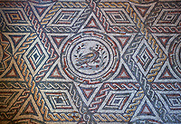 Close up picture of the Roman mosaics of The Four Seasons, room no 23 at the Villa Romana del Casale, first quarter of the 4th century AD. Sicily, Italy. A UNESCO World Heritage Site.