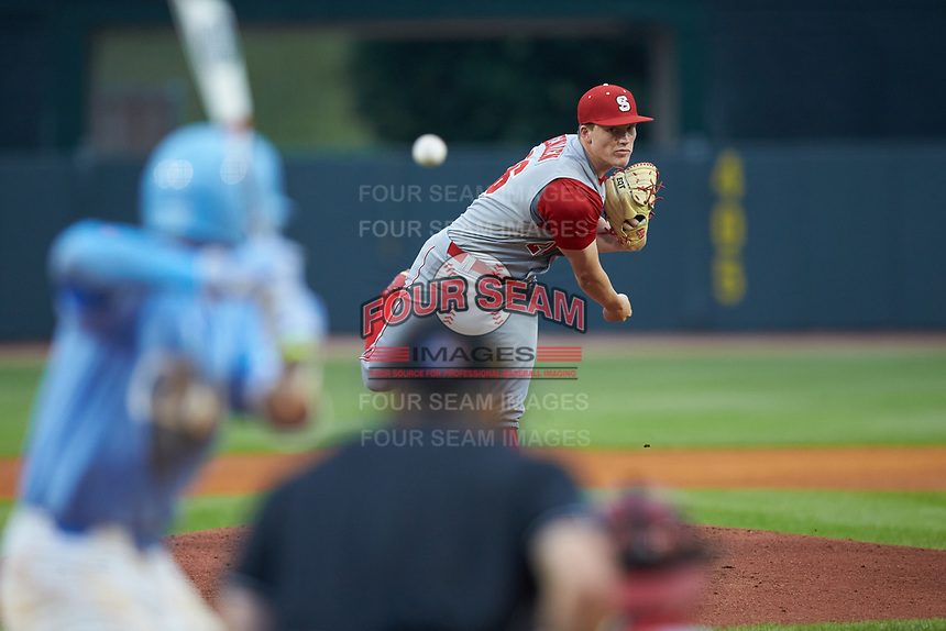 North Carolina State Wolfpack relief pitcher Michael Bienlien (26) in action against the North Carolina Tar Heels in Game Twelve of the 2017 ACC Baseball Championship at Louisville Slugger Field on May 26, 2017 in Louisville, Kentucky. The Tar Heels defeated the Wolfpack 12-4. (Brian Westerholt/Four Seam Images)