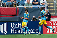 FOXBOROUGH, MA - AUGUST 8: Paxten Aaronson #30 of Philadelphia Union celebrates his goal during a game between Philadelphia Union and New England Revolution at Gillette Stadium on August 8, 2021 in Foxborough, Massachusetts.