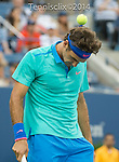 Roger Federer (SUI) goes down 5-2 before rain saved him in his match against Marcel Granollers (ESP) at the US Open being played at USTA Billie Jean King National Tennis Center in Flushing, NY on August 31, 2014