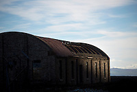 An abandoned building on Ailsa Craig, an unihabited volcanic island that is the source of the granite used to make most of the world's curling stones, including those used every four years in the Winter Olympics.