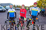 """Manor West Cycling Club members Paul Lynch, Michael Mannix and Daithi Creedon taking part in the Tom Crean """"Unsung Hero"""" Cycle fundraiser in the Ballyseede Garden Centre on Saturday."""