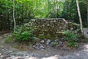 Stone abutment at the end the Lincoln Brook Trail in the New Hampshire White Mountains. This abutment is from Trestle No. 7, and it crossed Franconia Brook along the old the East Branch & Lincoln Railroad (1893-1948).