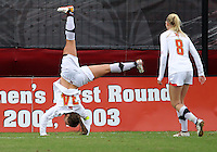 COLLEGE PARK, MD - OCTOBER 28, 2012:  Ashley Spivey (8) of the University of Maryland watches Danielle Hubka (34) celebrate her game winning goal against Miami during an ACC  women's tournament 1st. round match at Ludwig Field in College Park, MD. on October 28. Maryland won 2-1 on a golden goal in extra time.