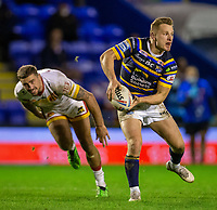 13th November 2020; The Halliwell Jones Stadium, Warrington, Cheshire, England; Betfred Rugby League Playoffs, Catalan Dragons versus Leeds Rhinos; Brad Dwyer of Leeds Rhinos passes the ball