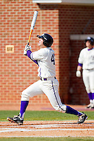 Sal Pezzino #43 of the High Point Panthers follows through on his swing against the Dayton Flyers at Willard Stadium on February 26, 2012 in High Point, North Carolina.    (Brian Westerholt / Four Seam Images)