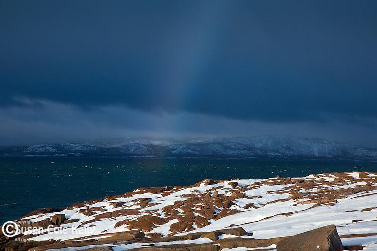 Rainbow over Cadillac Mountain in Acadia National Park, Downeast, ME, USA