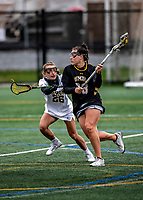 17 April 2021: UMBC Retriever Attacker Claire Bockstie, a Sophomore from Forest Hill, MD, drives forward to score the Retrievers 7th goal against the University of Vermont Catamounts at Virtue Field in Burlington, Vermont. The Catamounts fell to the Retrievers 11-8 in the America East Women's Lacrosse matchup. Mandatory Credit: Ed Wolfstein Photo *** RAW (NEF) Image File Available ***