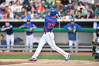 Tennessee Smokies third baseman Jason Vosler (22) swings at a pitch during a game against the Biloxi Shuckers at Smokies Stadium on May 26, 2017 in Kodak, Tennessee. The Smokies defeated the Shuckers 3-2. (Tony Farlow/Four Seam Images)
