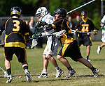 GER - Hannover, Germany, May 31: During the Men Lacrosse Playoffs 2015 match between ABV Stuttgart 1863 (white) and HTHC Hamburg (black) on May 31, 2015 at Deutscher Hockey-Club Hannover e.V. in Hannover, Germany. Final score 2:10. (Photo by Dirk Markgraf / www.265-images.com) *** Local caption *** +s26+, Anton Albrecht #5 of HTHC Hamburg