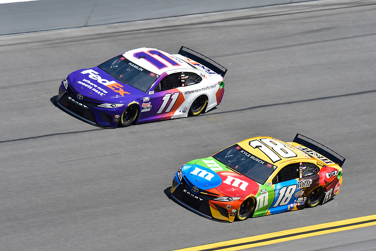 #11: Denny Hamlin, Joe Gibbs Racing, Toyota Camry  #18: Kyle Busch, Joe Gibbs Racing, Toyota Camry M&M's