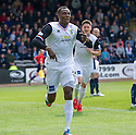 Caley's Edward Ofere (7) celebrates after he scores their first goal.