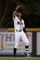 Modesto Nuts designated hitter Kyle Lewis (2) celebrates after hitting a double during a California League game against the Lake Elsinore Storm at John Thurman Field on May 12, 2018 in Modesto, California. Lake Elsinore defeated Modesto 4-1. (Zachary Lucy/Four Seam Images)