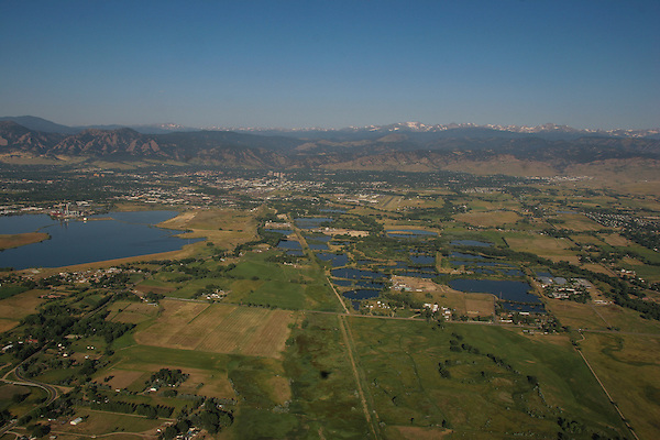 Aerial view from a balloon  Boulder, Colorado, John offers private photo tours of Boulder, Denver and Rocky Mountain National Park. .  John leads private photo tours in Boulder and throughout Colorado. Year-round Colorado photo tours.