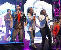 BOGOTA – COLOMBIA -  23-05-2014: Carlos Vives y ChocQuib Town, cantan durante fiesta de despedida de la Selección Colombia en el estadio Nemesio Camacho el Campin de la ciudad de Bogota, Colombia parte hacia La copa Mundo Brasil 2014.  / Carlos Vives and ChocQuib Town, sing during a farewell party of the Colombia Team at the stadium Nemesio Camacho El Campin stadium in Bogota city, Colombia travels to the World Cup Brazil 2014. Photo: VizzorImage / Luis Ramirez / Staff.