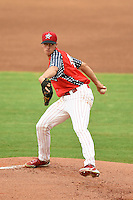 Clearwater Threshers starting pitcher Aaron Nola (49) delivers a pitch during a game against the Dunedin Blue Jays on July 1, 2014 at Bright House Field in Clearwater, Florida.  Dunedin defeated Clearwater 1-0.  (Mike Janes/Four Seam Images)