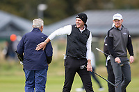3rd October 2021; The Old Course, St Andrews Links, Fife, Scotland; European Tour, Alfred Dunhill Links Championship, Fourth round; Danny Willett of England reacts to a great putt from his amateur parner American investment banker and philanthropist Jimmy Dunne during the final round of the Alfred Dunhill Links Championship on the Old Course, St Andrews