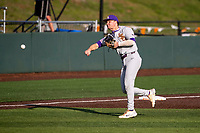 LSU Tigers third baseman Cade Doughty (4) warms up prior to the game against the Tennessee Volunteers on Robert M. Lindsay Field at Lindsey Nelson Stadium on March 26, 2021, in Knoxville, Tennessee. (Danny Parker/Four Seam Images)