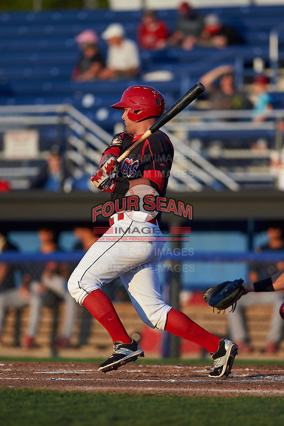 Batavia Muckdogs third baseman Ryan Cranmer (12) at bat aduring a game against the State College Spikes August 22, 2015 at Dwyer Stadium in Batavia, New York.  State College defeated Batavia 5-3.  (Mike Janes/Four Seam Images)