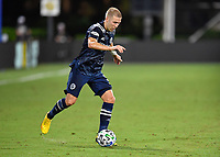 LAKE BUENA VISTA, FL - AUGUST 01: Anton Tinnerholm #3 of New York City FC looks to dribble during a game between Portland Timbers and New York City FC at ESPN Wide World of Sports on August 01, 2020 in Lake Buena Vista, Florida.