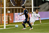 SAN JOSE, CA - SEPTEMBER 16: Dario Zuparic #13 of the Portland Timbers clears the shot of Vako #11 of the San Jose Earthquakes off the line during a game between Portland Timbers and San Jose Earthquakes at Earthquakes Stadium on September 16, 2020 in San Jose, California.