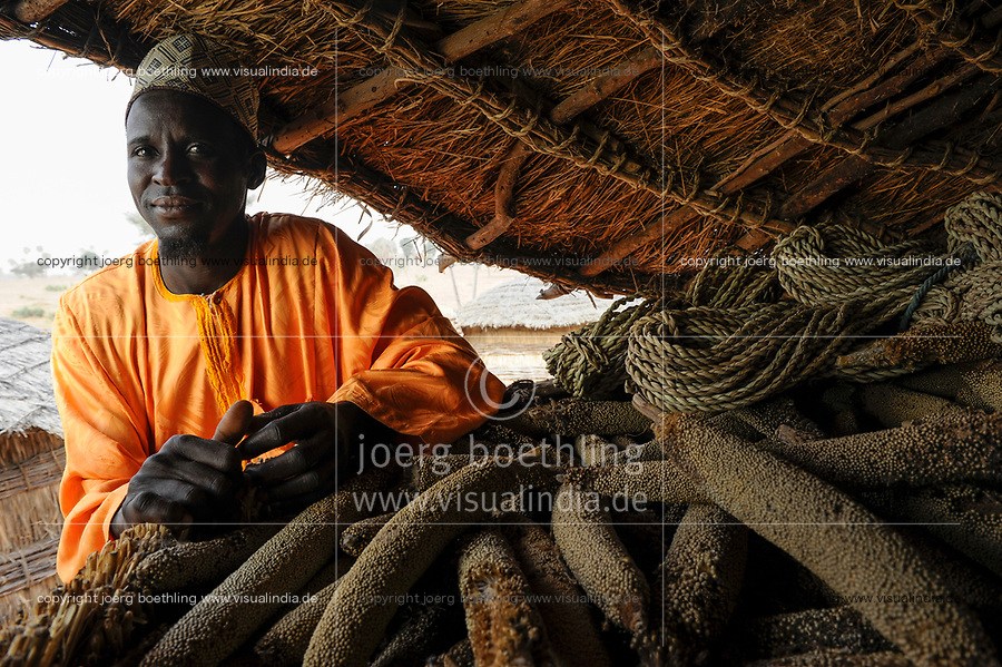 NIGER Zinder, village Zongon Soumaguela, Caritas project food security and drought resilience, millet storage for dry season / NIGER Zinder, Erntespeicher mit Hirse im Dorf Zongon Soumaguela, oft reichen die Speicher fuer die lange Duerreperiode nicht aus und es droht Hungersnot