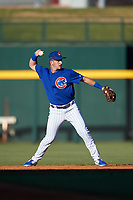 AZL Cubs 1 second baseman Zack Short (3) throws to first base during a rehab assignment in an Arizona League game against the AZL Angels on June 24, 2019 at Sloan Park in Mesa, Arizona. AZL Cubs 1 defeated the AZL Angels 12-0. (Zachary Lucy / Four Seam Images)