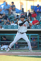 Ehire Adrianza (54) of the San Jose Giants, while on a rehab assignment for the San Francisco Giants, bats against the Lancaster JetHawks during the second game of a doubleheader at The Hanger on July 14, 2016 in Lancaster, California. Lancaster defeated San Jose, 3-0. (Larry Goren/Four Seam Images)