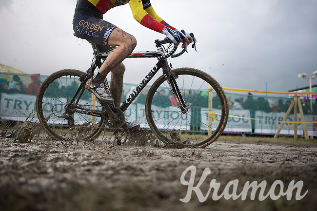 U23 Belgian Champion Jens Adams (BEL) rushing by<br /> <br /> 2014 Noordzeecross