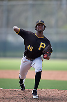 Pittsburgh Pirates relief pitcher Deivy Mendez (46) delivers a pitch during a Florida Instructional League game against the Detroit Tigers on October 2, 2018 at the Pirate City in Bradenton, Florida.  (Mike Janes/Four Seam Images)
