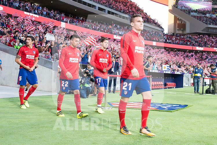 Atletico de Madrid's Thomas Teye, Nico Gaitan, Luciano Vietto and Kevin Gameiro for the first time at Wanda Metropolitano during La Liga match between Atletico de Madrid and Malaga CF at Wanda Metropolitano in Madrid, Spain September 16, 2017. (ALTERPHOTOS/Borja B.Hojas)
