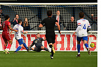 Dayshonne Golding of Worthing saw his shot saved by Nathan McDonald of Enfield Town  during Enfield Town vs Worthing, Pitching In Isthmian League Premier Division Football at the Queen Elizabeth II Stadium on 16th October 2021