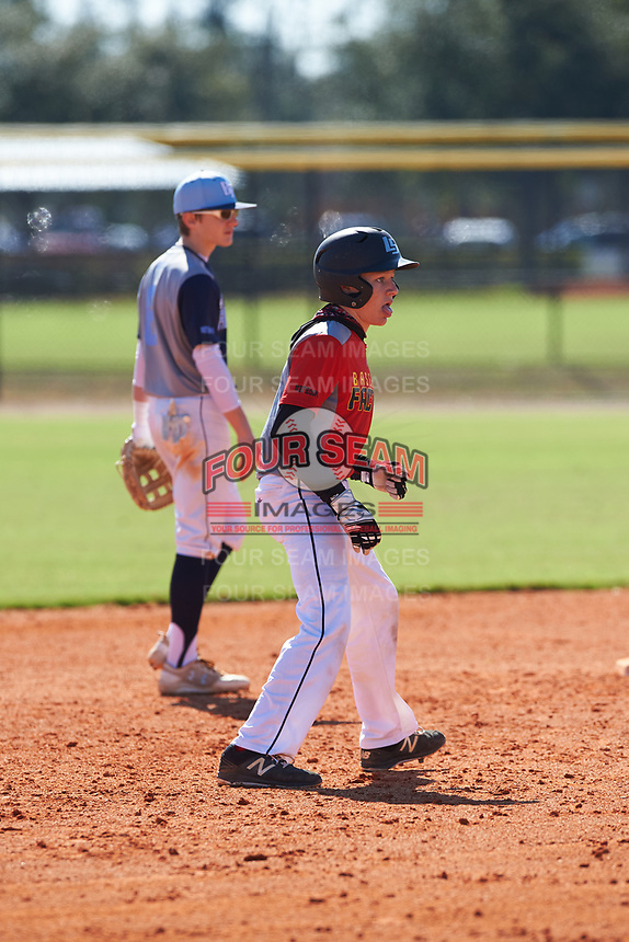 Mac McCommons (1) of Greensboro, Georgia during the Baseball Factory All-America Pre-Season Rookie Tournament, powered by Under Armour, on January 14, 2018 at Lake Myrtle Sports Complex in Auburndale, Florida.  (Michael Johnson/Four Seam Images)