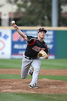 T.J. Weir (6) of the Lake Elsinore Storm pitches against the Rancho Cucamonga Quakes at LoanMart Field on April 10, 2016 in Rancho Cucamonga, California. Lake Elsinore defeated Rancho Cucamonga, 7-6. (Larry Goren/Four Seam Images)